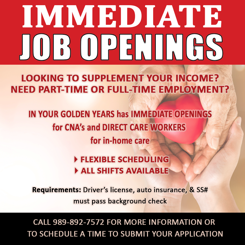 IMMEDIATE JOB OPENINGS